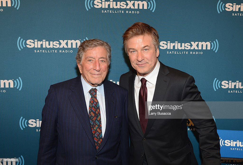 Tony Bennett and Alec Baldwin attend 'SiriusXM's Town Hall with Tony Bennett' and Moderator Alec Baldwin at SiriusXM Studio on February 13, 2013 in New York City.