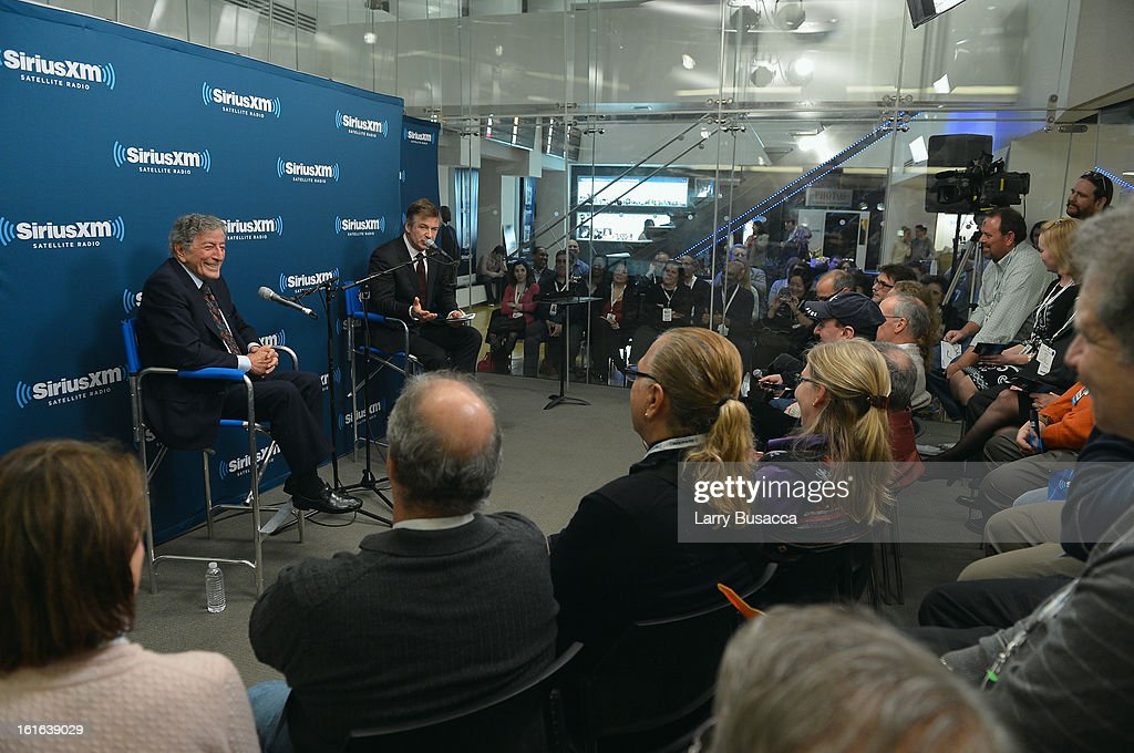 Tony Bennett and Alec Baldwin speak at 'SiriusXM's Town Hall with Tony Bennett' and Moderator Alec Baldwin at SiriusXM Studio on February 13, 2013 in New York City.