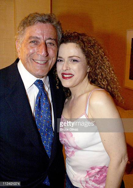 Tony Bennett and Bernadette Peters during Backstage after Bernadette Peters performs in 'Gypsy' on Broadway at The Shubert Theatre in New York City...