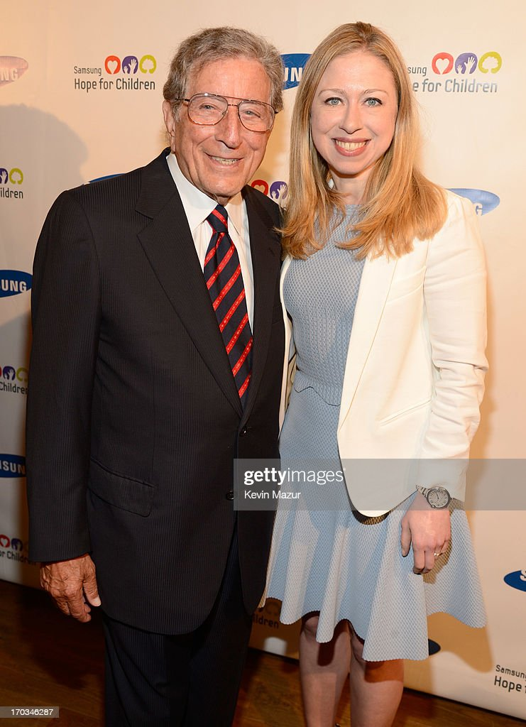 Tony Bennett and Chelsea Clinton attend the Samsung's Annual Hope for Children Gala at CiprianiÕs in Wall Street on June 11, 2013 in New York City.