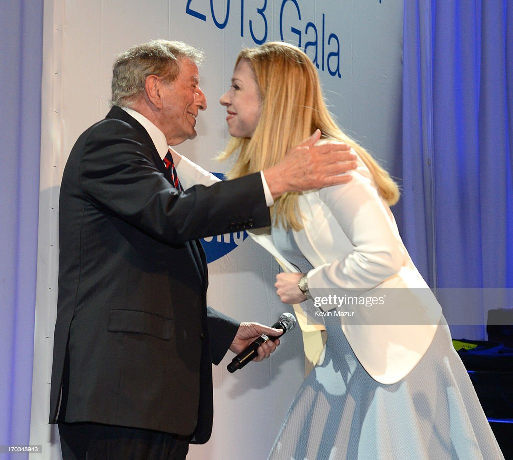 Tony Bennett and Chelsea Clinton on stage during the Samsung's Annual Hope for Children Gala at CiprianiÕs in Wall Street on June 11, 2013 in New York City.