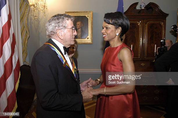Tony Bennett and Condoleeza Rice during 2005 Kennedy Center Honorees State Department Dinner at The White House in Washington DC United States