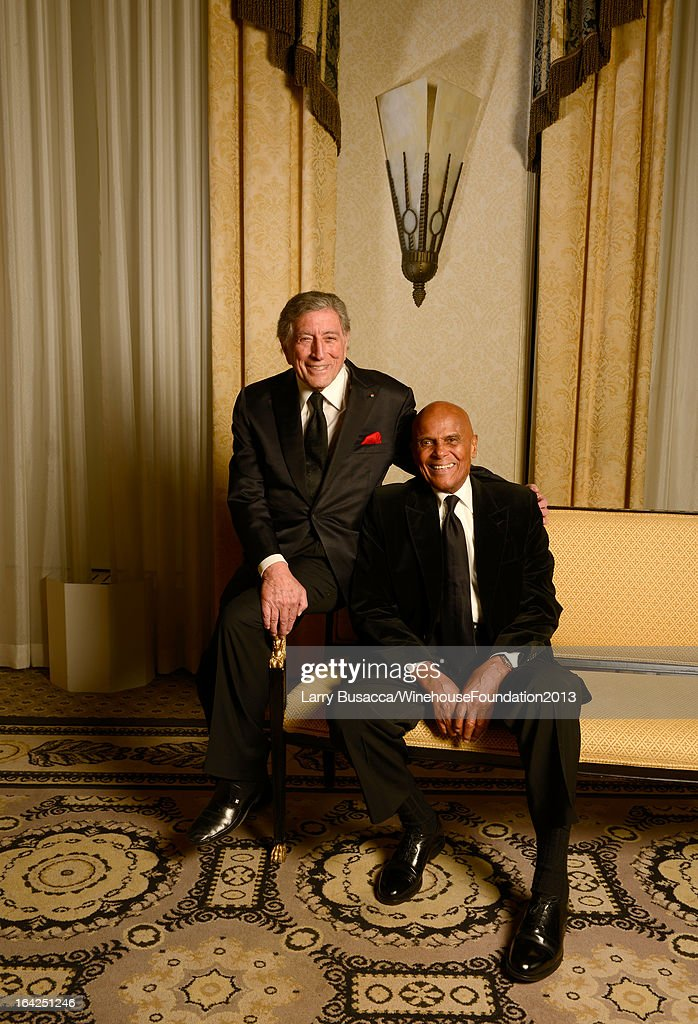 Tony Bennett (L) and Harry Belafonte pose for a portrait during the 2013 Amy Winehouse Foundation Inspiration Awards and Gala at The Waldorf=Astoria on March 21, 2013 in New York City.