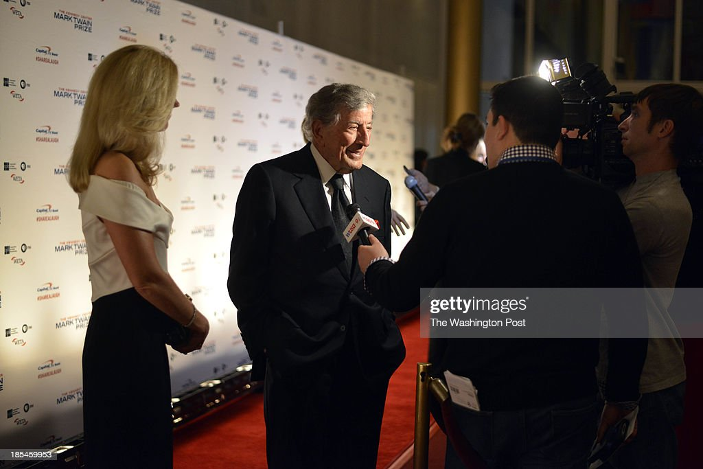 Tony Bennett and his wife Susan Crow arrives at The Kennedy Center 16th Annual Mark Twain Prize for American Humor at the Kennedy Center in Washington , D.C. on October 20, 2013. He and other celebrities came to celebrate with recipient Carol Burnett.