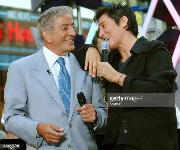 Tony Bennett and kd lang during Tony Bennett and KD Lang Perform on 'The Today Show' August 24 2001 at NBC Studios in New York City New York United...