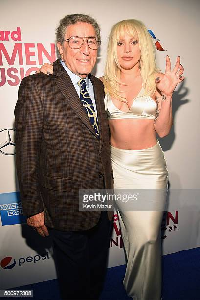 Tony Bennett and Lady Gaga attend Billboard Women In Music 2015 on Lifetime at Cipriani 42nd Street on December 11 2015 in New York City