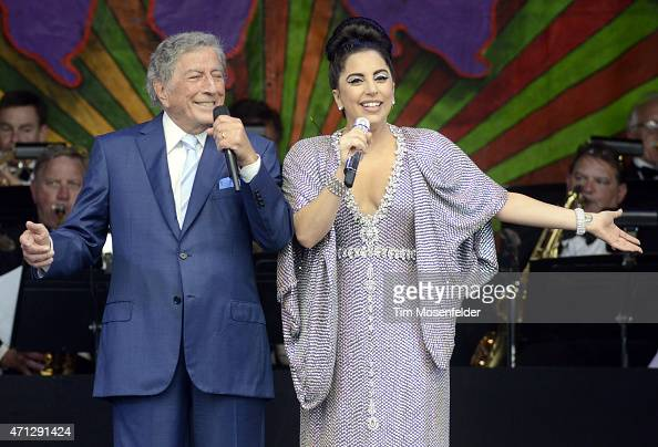 Tony Bennett and Lady Gaga perform during the 2015 New Orleans Jazz Heritage Festival at Fair Grounds Race Course on April 26 2015 in New Orleans...