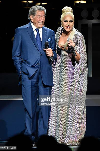 Tony Bennett and Lady Gaga perform onstage during the 'Cheek to Cheek' tour at Radio City Music Hall on June 19 2015 in New York City