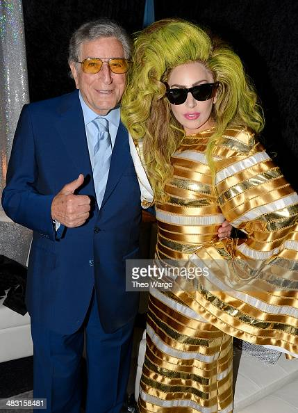 Tony Bennett and Lady Gaga pose backstage after her show at Roseland Ballroom on April 6 2014 in New York City