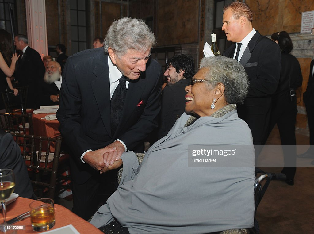Tony Bennett and Maya Angelou attend the Norman Mailer Center's Fifth Annual Benefit Gala sponsored by Van Cleef & Arpels on October 17, 2013 in New York City.