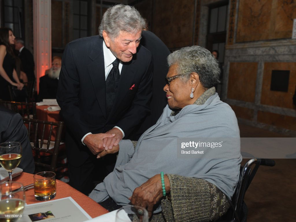 <a gi-track='captionPersonalityLinkClicked' href=/galleries/search?phrase=Tony+Bennett+-+Singer&family=editorial&specificpeople=160951 ng-click='$event.stopPropagation()'>Tony Bennett</a> and <a gi-track='captionPersonalityLinkClicked' href=/galleries/search?phrase=Maya+Angelou&family=editorial&specificpeople=772742 ng-click='$event.stopPropagation()'>Maya Angelou</a> attend the Norman Mailer Center's Fifth Annual Benefit Gala sponsored by Van Cleef & Arpels on October 17, 2013 in New York City.