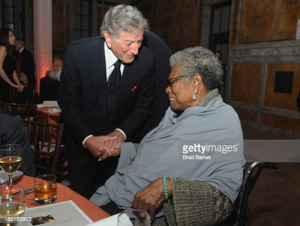 Tony Bennett and Maya Angelou attend the Norman Mailer Center's Fifth Annual Benefit Gala sponsored by Van Cleef Arpels on October 17 2013 in New...
