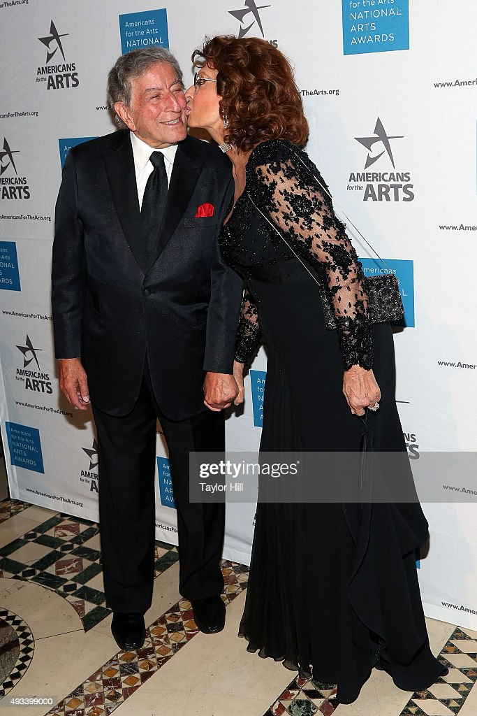 Tony Bennett and Sophia Loren attend the 2015 National Arts Awards at Cipriani 42nd Street on October 19, 2015 in New York City.