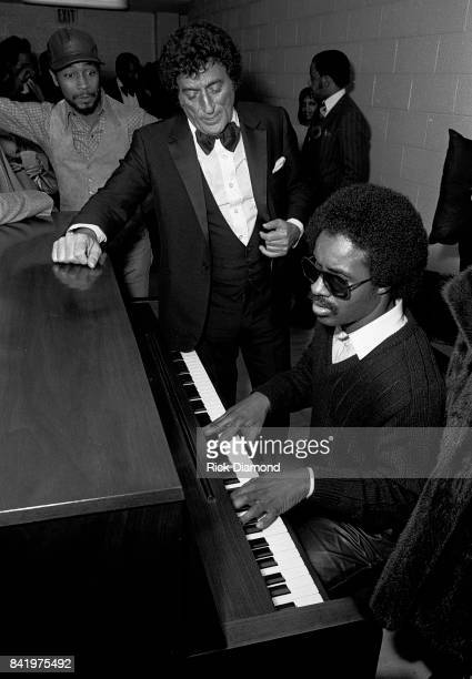 Tony Bennett and Stevie Wonder backstage during MLK Gala at The Atlanta Civic Center in Atlanta Georgia January 13 1982