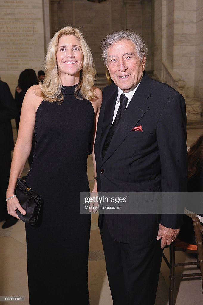 Tony Bennett (R) and Susan Crow attend the Norman Mailer Center's Fifth Annual Benefit Gala sponsored by Van Cleef & Arpels at the New York Public Library on October 17, 2013 in New York City.