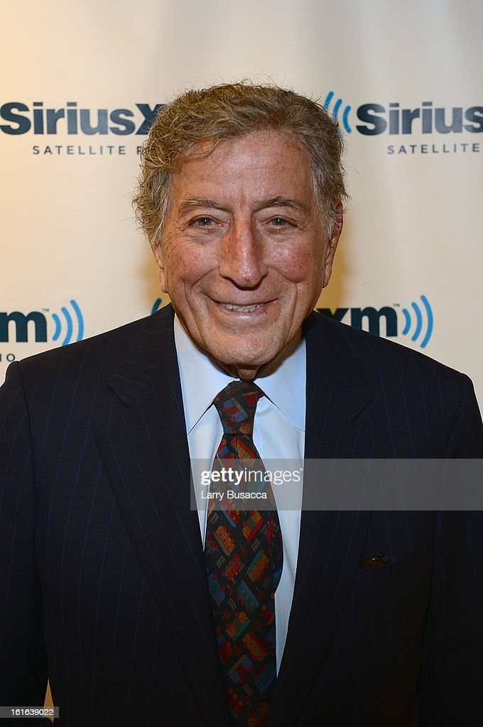 <a gi-track='captionPersonalityLinkClicked' href=/galleries/search?phrase=Tony+Bennett&family=editorial&specificpeople=160951 ng-click='$event.stopPropagation()'>Tony Bennett</a> attends 'SiriusXM's Town Hall with <a gi-track='captionPersonalityLinkClicked' href=/galleries/search?phrase=Tony+Bennett&family=editorial&specificpeople=160951 ng-click='$event.stopPropagation()'>Tony Bennett</a>' and Moderator Alec Baldwin at SiriusXM Studio on February 13, 2013 in New York City.