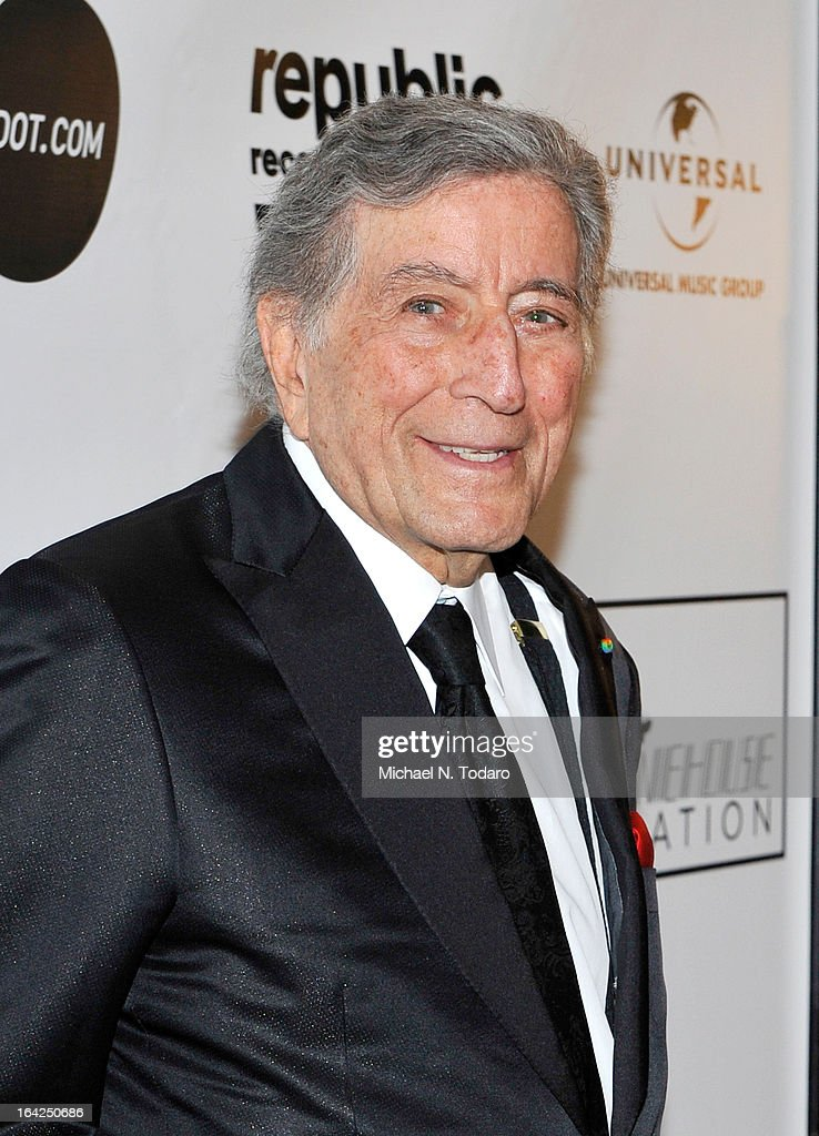 <a gi-track='captionPersonalityLinkClicked' href=/galleries/search?phrase=Tony+Bennett+-+Singer&family=editorial&specificpeople=160951 ng-click='$event.stopPropagation()'>Tony Bennett</a> attends the 2013 Amy Winehouse Foundation Inspiration Awards and Gala at The Waldorf=Astoria on March 21, 2013 in New York City.