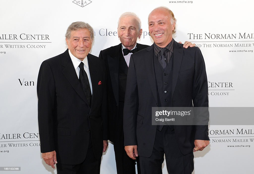 Tony Bennett, Gay Talese, and Danny Bennett attend the Norman Mailer Center's fifth annual benefit gala at the New York Public Library on October 17, 2013 in New York City.