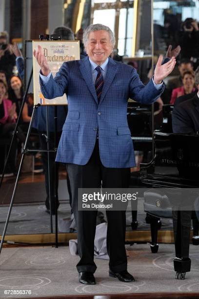 Tony Bennett performs during Ella Fitzgerald's 100th Birthday Celebration Ella Fitzgerald Day Proclamation at The Rainbow Room on April 25 2017 in...