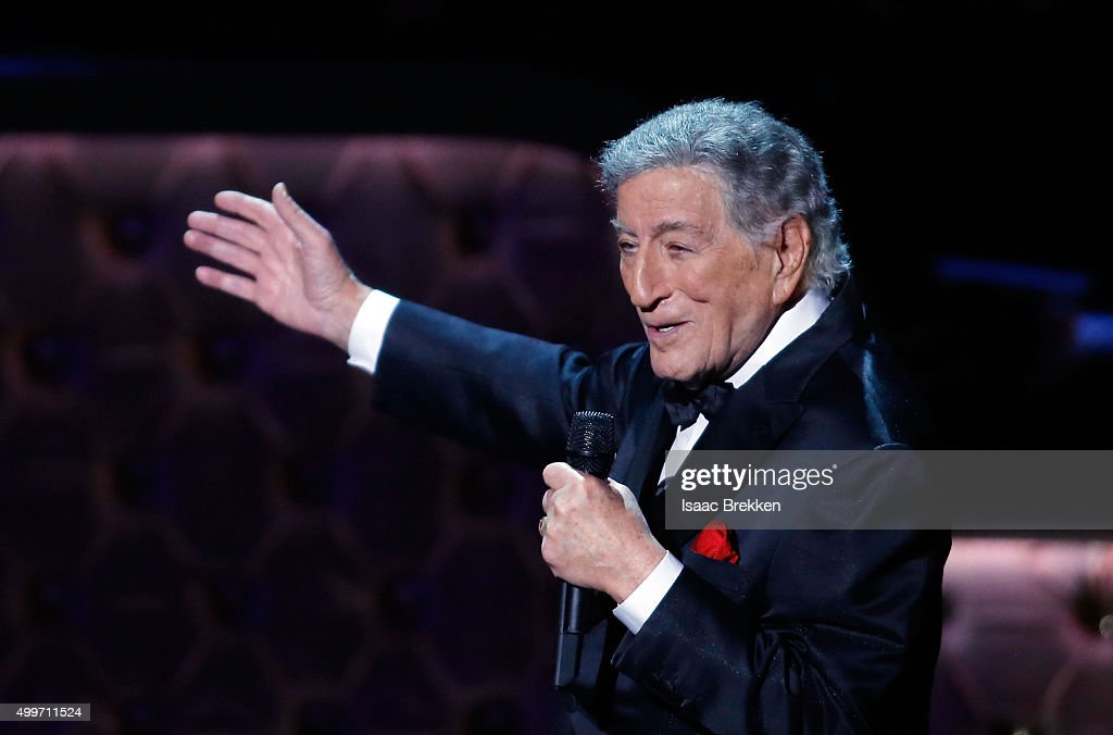 Tony Bennett performs during 'Sinatra 100: An All-Star GRAMMY Concert' celebrating the late Frank Sinatra's 100th birthday at the Encore Theater at Wynn Las Vegas on December 2, 2015 in Las Vegas, Nevada. The show will air on CBS on December 6.