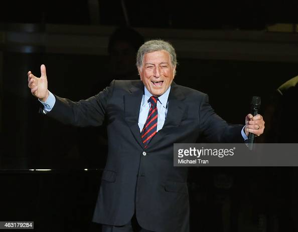 Tony Bennett performs onstage during the Stevie Wonder Songs In The Key Of Life An AllStar GRAMMY Salute held at Nokia Theatre LA Live on February 10...