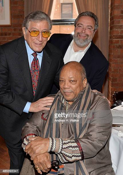 Tony Bennett Quincy Jones and Drew Nieporent attend the 2014 Tribeca Film Festival Juror Welcome Lunch on April 17 2014 in New York City