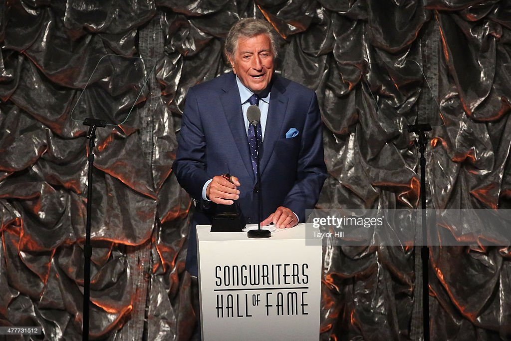 Tony Bennett speaks during the Songwriters Hall Of Fame 46th Annual Induction And Awards at Marriott Marquis Hotel on June 18 2015 in New York City