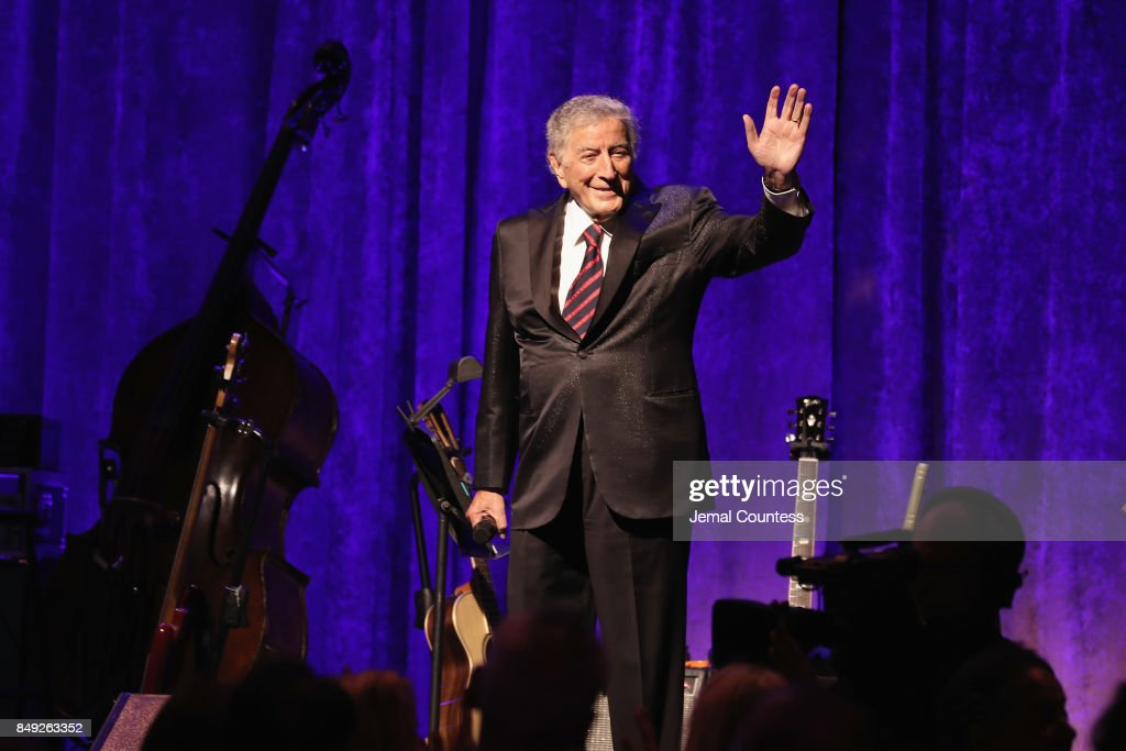 Tony Bennett speaks onstage at the American Theatre Wing Centennial Gala at Cipriani 42nd Street on Septembe
