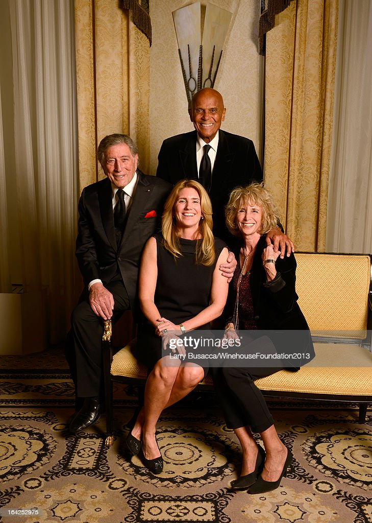 Tony Bennett, Susan Crow, Harry Belafonte, and Pamela Frank pose for a portrait during the 2013 Amy Winehouse Foundation Inspiration Awards and Gala at The Waldorf=Astoria on March 21, 2013 in New York City.