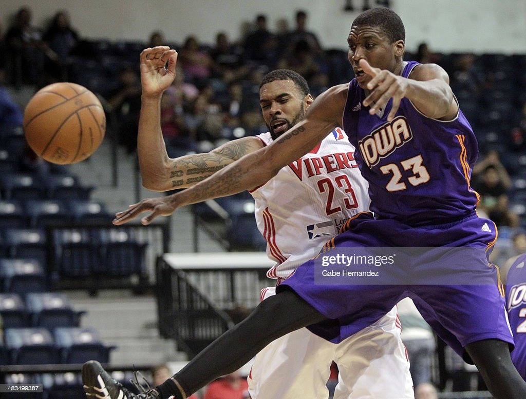 Tony Bishop #23 of the Rio Grande Valley Vipers fights for the rebound against Larry Owens #23 of the Iowa Energy on April 8, 2014 during game one first round of the 2014 NBA-Development League playoffs at the State Farm Arena in Hidalgo, Texas.