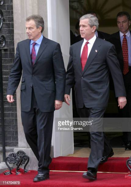 Tony Blair and George W Bush during President Bush Visits The Prime Minister Tony Blair at 10 Downing Street in London Great Britain