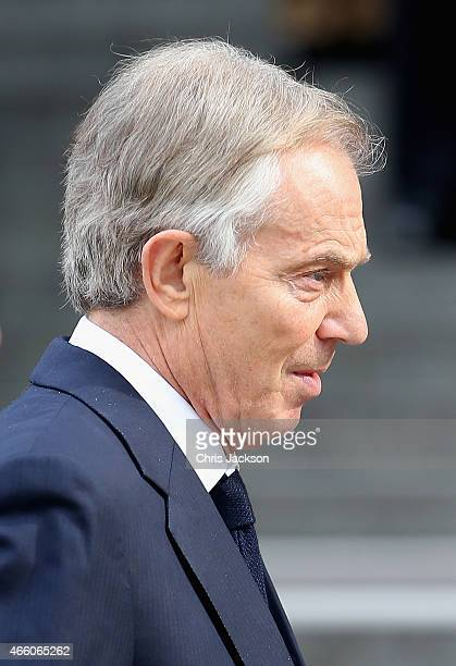 Tony Blair arrives for a Service of Commemoration for troops who were stationed in Afghanistan on March 13 2015 in London England