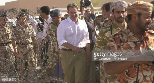 Tony Blair arrives to speak to troops at Al Sha'afa Military base that is being used by the British troops in north Oman The British Prime Minister...
