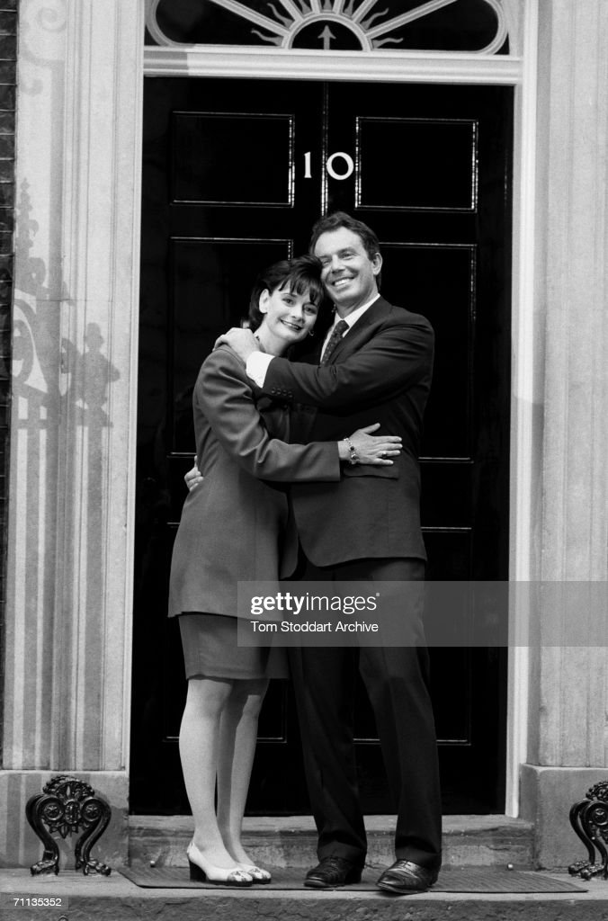 Tony Blair, Britain's first Labour Prime Minister since 1979, with his wife Cherie on the steps of 10 Downing Street after his election victory.