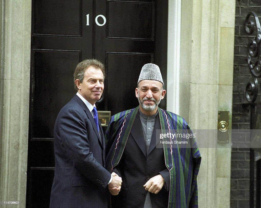 Tony Blair British Prime Minister and Hamid Karzai Afghan President