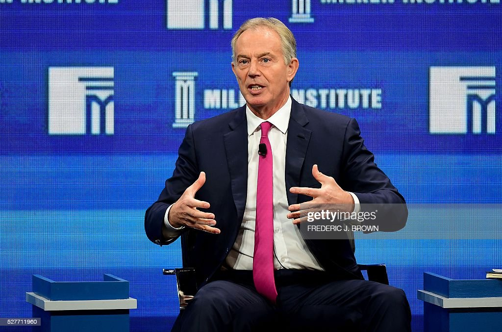 Tony Blair, Former British Prime Minister, speaks during the lunch programme panel 'ISIS and Global Terrorism: What It Will Take to Defeat Them' at the 2016 Milken Institute Global Conference in Beverly Hills, California on May 3, 2016. / AFP / FREDERIC