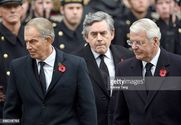 Tony Blair Gordon Brown and John Major attend the annual Remembrance Sunday Service at the Cenotaph Whitehall on November 8 2015 in London England