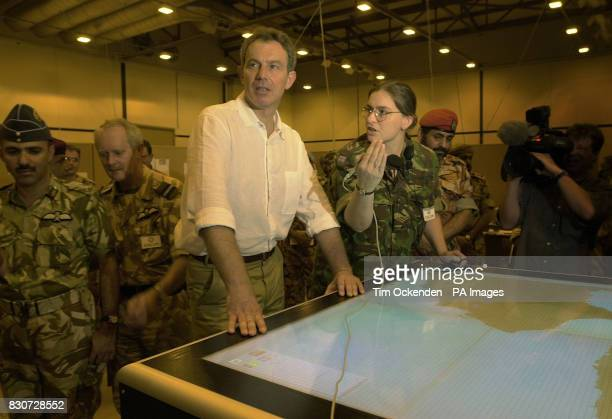 Tony Blair in the Command Operation at Al Sha'afa Military base that is being used by the British troops in north Oman The British Prime Minister is...
