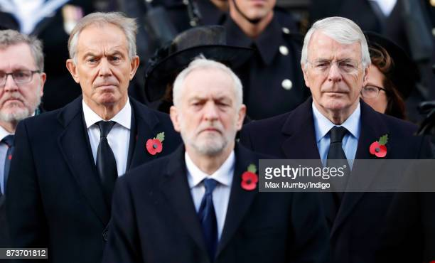 Tony Blair Jeremy Corbyn and Sir John Major attend the annual Remembrance Sunday Service at The Cenotaph on November 12 2017 in London England This...