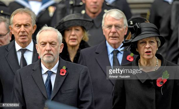 Tony Blair Jeremy Corbyn John Major and Teresa May attend the annual Remembrance Sunday memorial at the Cenotaph on November 12 2017 in London England