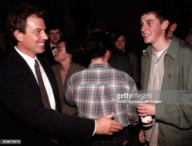 Tony Blair meets young Labour voters at a party in Blackpool's Norbreck Castle Hotel tonight Photo by Stefan Rousseau/PA