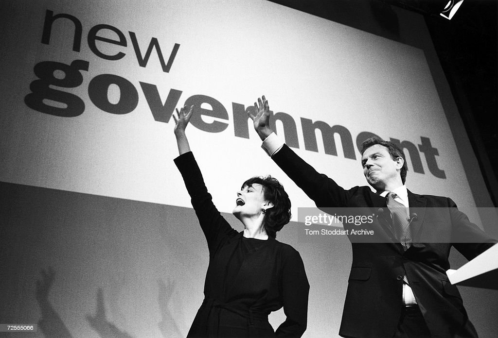 Tony Blair MP and his wife Cherie are seen during the 1997 General Election campaign trail. The future Prime Minister was photographed via special access behind the scenes during the campaign.