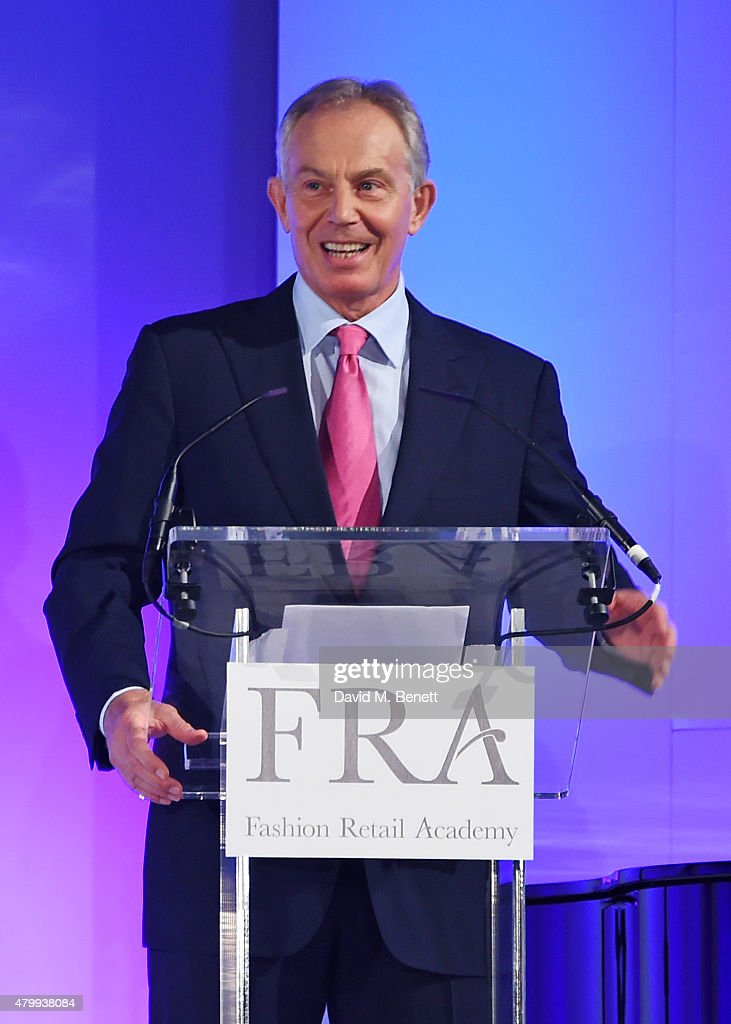 Tony Blair speaks at the Fashion Retail Academy 10th Anniversary Awards at Freemasons' Hall on July 8, 2015 in London, England.