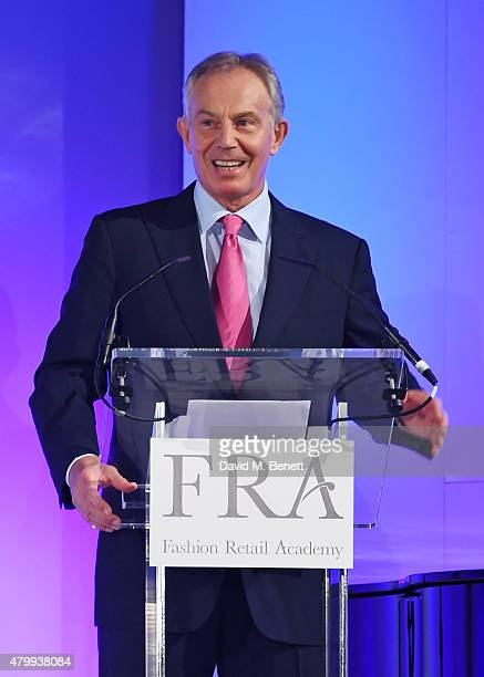 Tony Blair speaks at the Fashion Retail Academy 10th Anniversary Awards at Freemasons' Hall on July 8 2015 in London England