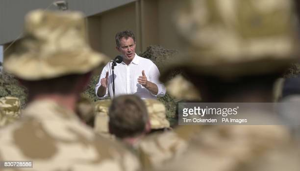 Tony Blair speaks to troops at Al Sha'afa Military base that is being used by the British troops in north Oman The British Prime Minister is on a two...