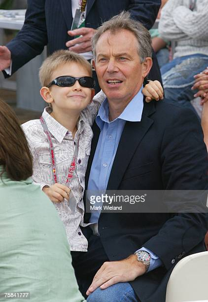 Tony Blair takes time out from his new post as Middle East envoy to attend The Red Bull Air Race with his family and son Leo on July 28 2007 in...
