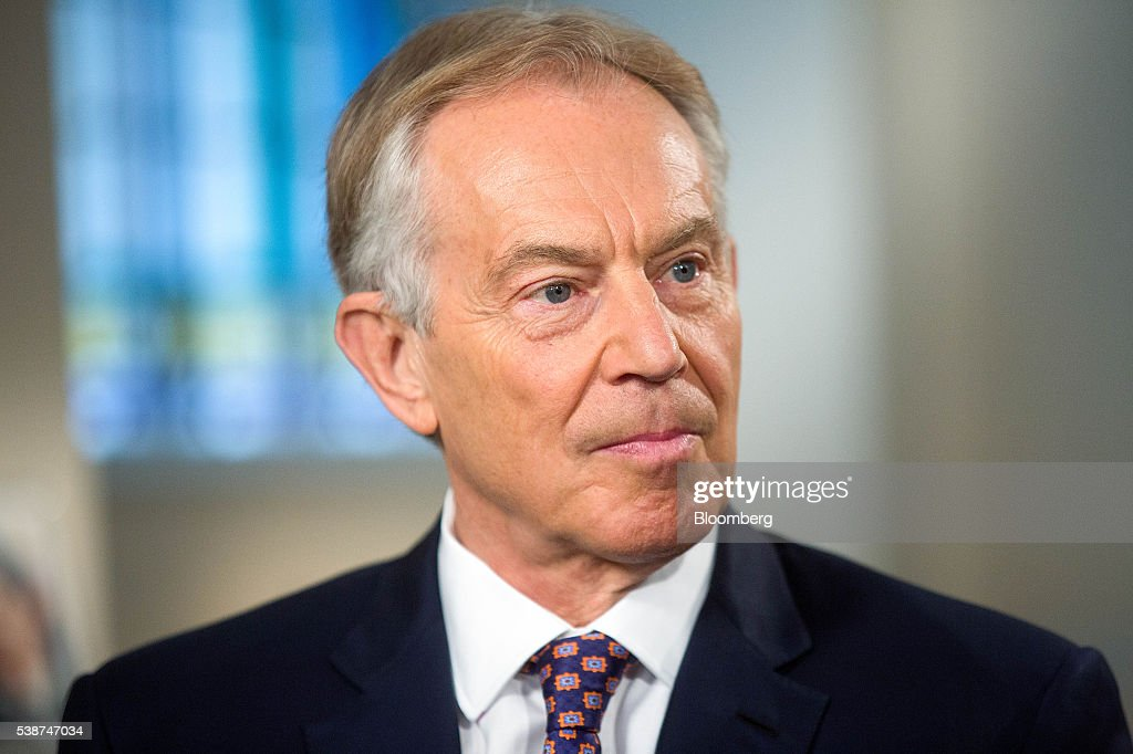 Tony Blair, U.K.'s former prime minster, pauses during a Bloomberg ...