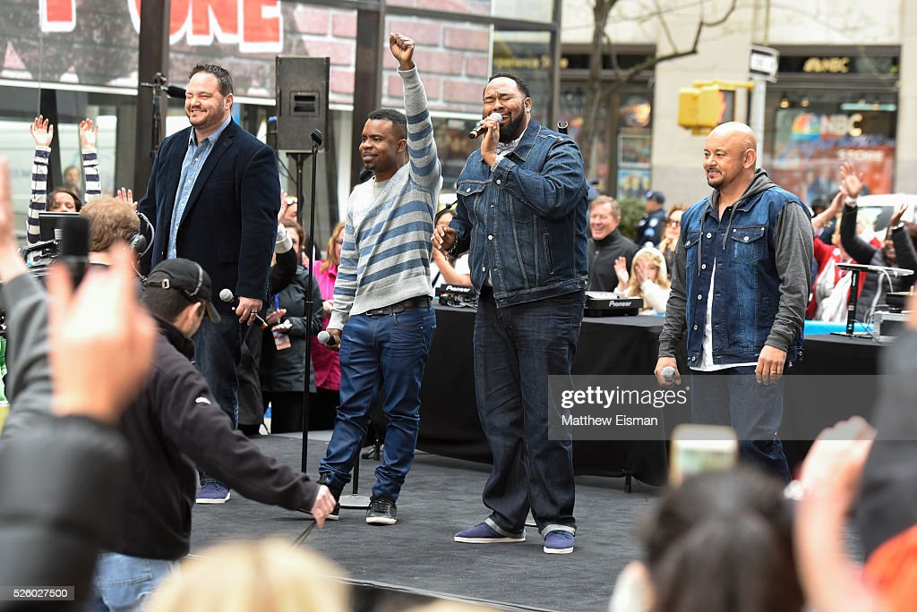 Tony Borowiak, Delious Kennedy, Jamie Jones and Alfred Nevarez of All-4-One perform live on stage for NBC's 'Today' at Rockefeller Plaza on April 29, 2016 in New York City.