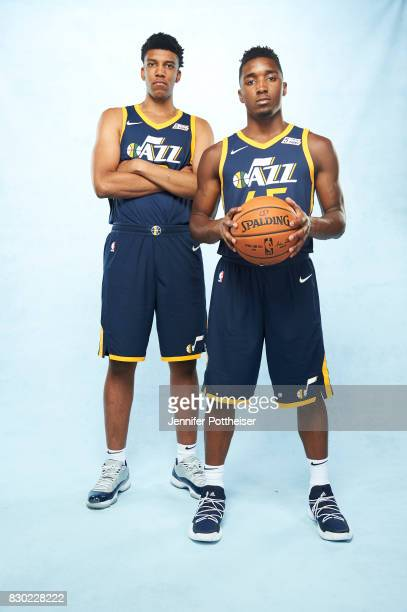 Tony Bradley and Donovan Mitchell of the Utah Jazz poses for a photo during the 2017 NBA Rookie Shoot on August 11 2017 at the Madison Square Garden...