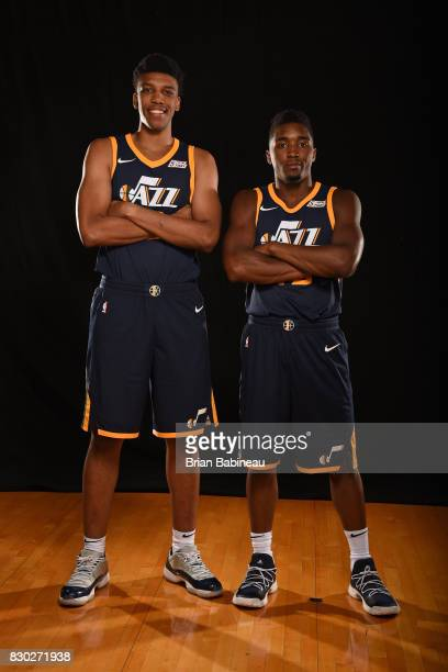 Tony Bradley and Donovan Mitchell of the Utah Jazz poses for a photo during the 2017 NBA Rookie Photo Shoot at MSG training center on August 11 2017...